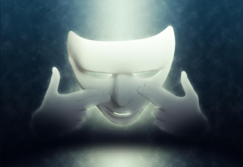 Mime white theatrical mask on dark. Background royalty free stock photo