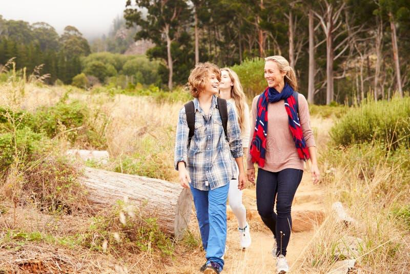 Mime y dos niños que caminan en un rastro del bosque imagen de archivo libre de regalías