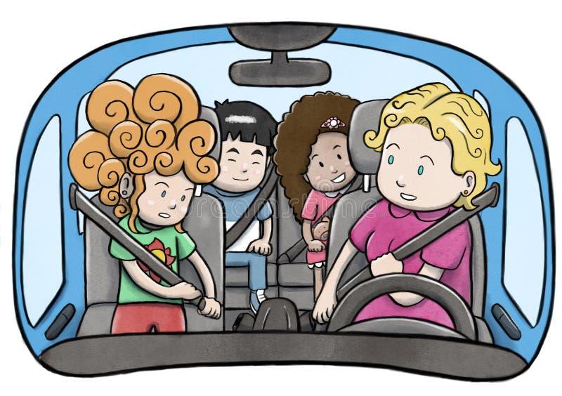 Mime y tres niños dentro de un coche usando los cinturones de seguridad y preparación conducir stock de ilustración