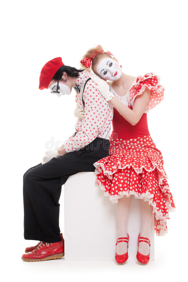 Download Mimes siting on the cube stock image. Image of comedian - 14625229