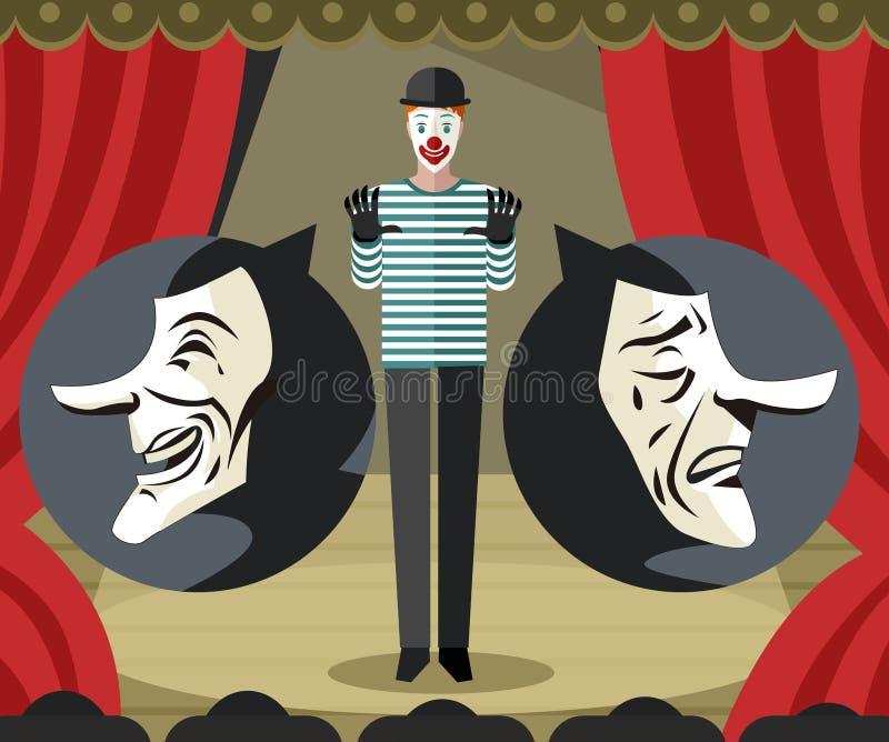 Mimi in scena giocando le maschere tristi e felici del teatro royalty illustrazione gratis