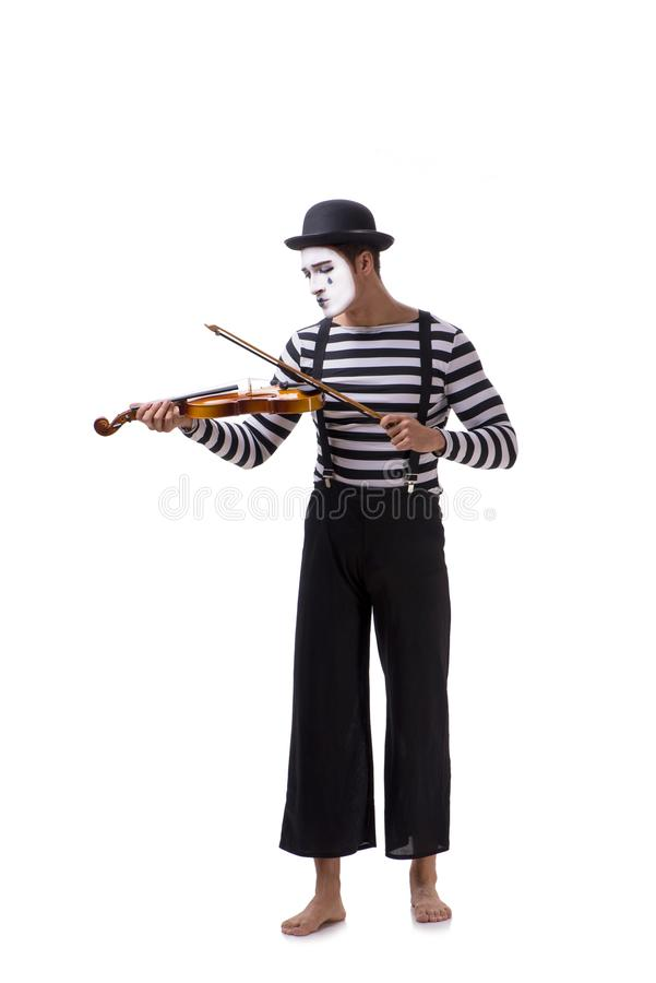 Mimicar que joga o violino isolado no branco fotografia de stock