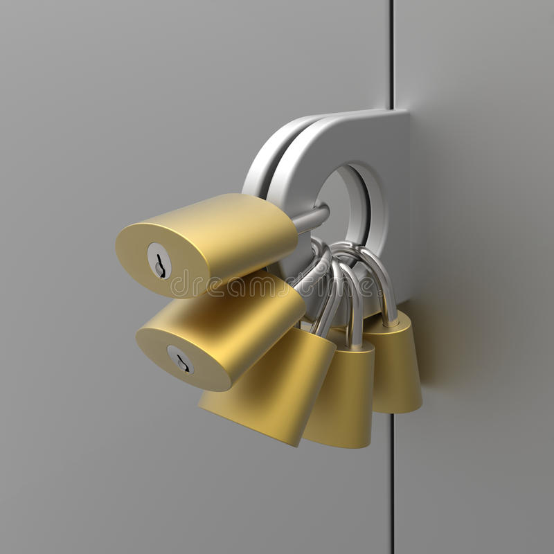 Mimicking about high level of security. 3D model rendering to mimic about high level of security royalty free illustration