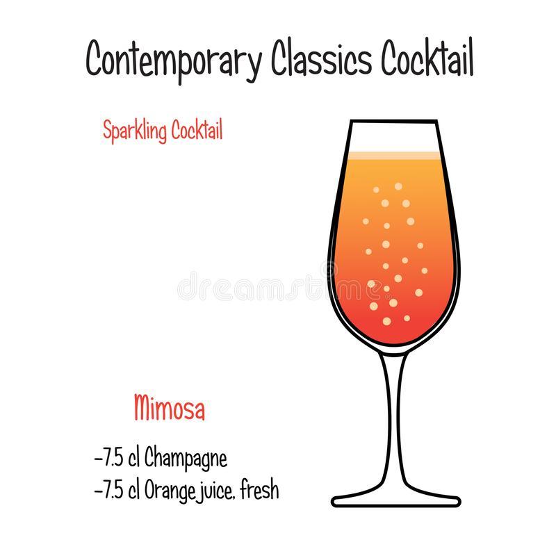 Mimisa alkoholicznego koktajlu wektorowy ilustracyjny przepis odizolowywający ilustracja wektor