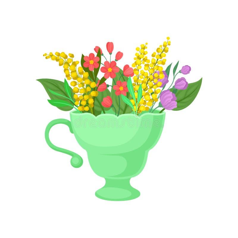 Mimosa σε μια πράσινη κούπα E απεικόνιση αποθεμάτων
