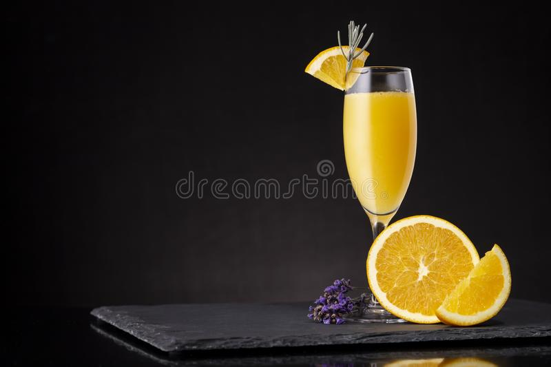 Mimosa cocktail in champagne glass royalty free stock image