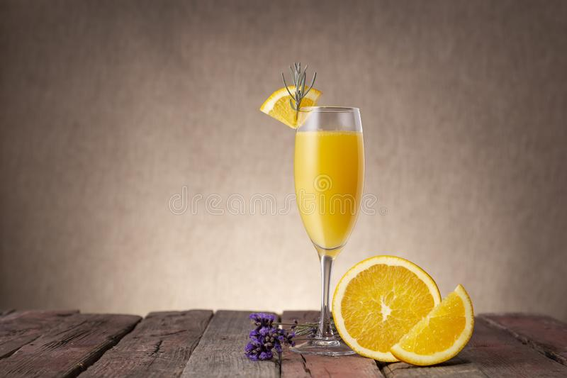 Mimosa Cocktail in a champagne glass royalty free stock image