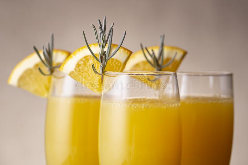 Mimosa cocktail decoration details royalty free stock image