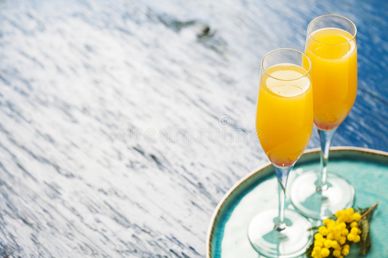 Mimosa cocktail royalty free stock photography