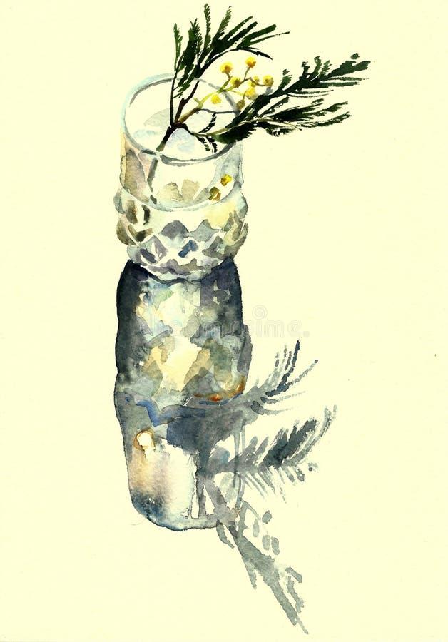 Mimosa in een glaswaterverf vector illustratie