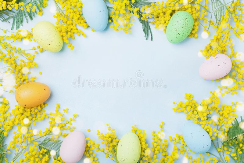 Mimosa flower and colorful eggs on blue table top view. Spring card for Easter. stock photography
