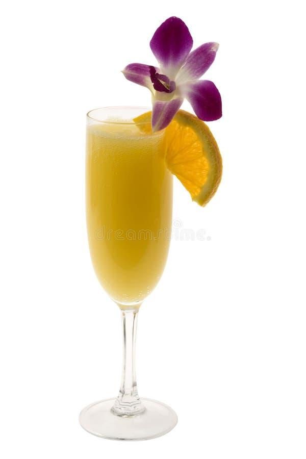 Mimose-Cocktail auf einem weißen Hintergrund stockfoto