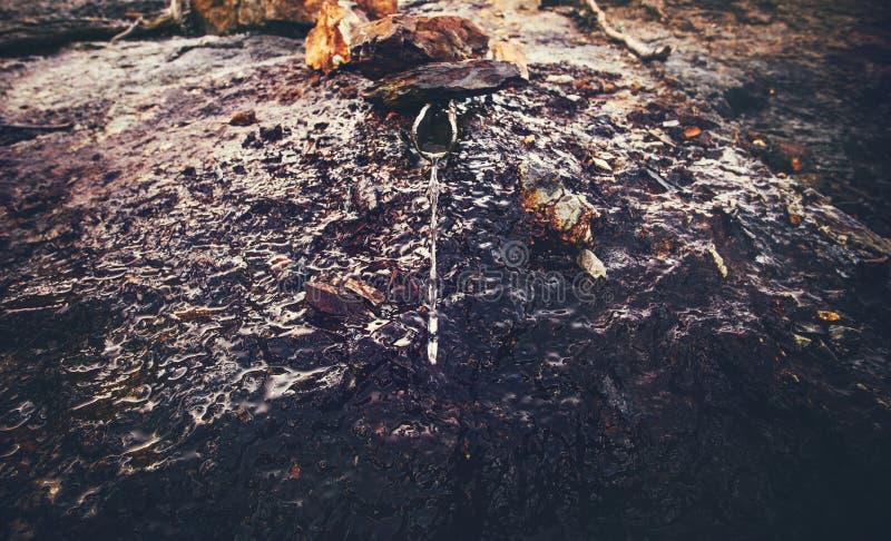 Minéral puits d'eau en montagnes de l'Abkhazie photographie stock libre de droits