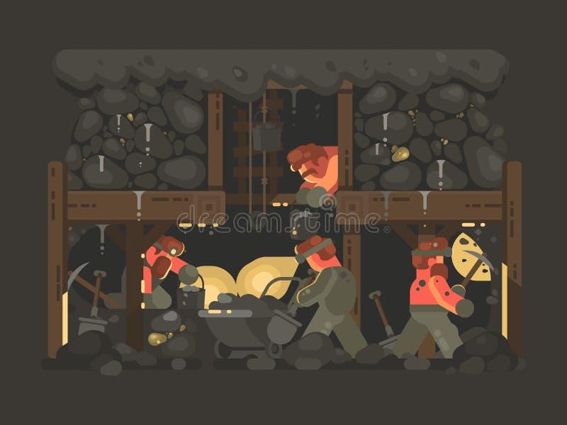 Min för guld- bryta stock illustrationer