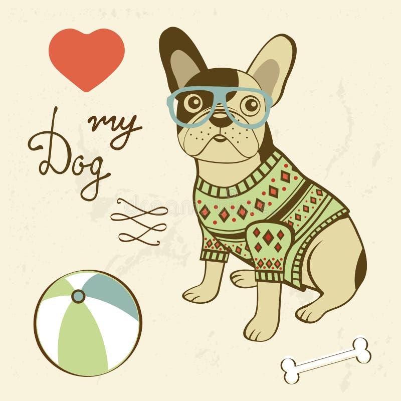 min hundförälskelse Illustration av en fransk bulldogg för hipster vektor illustrationer