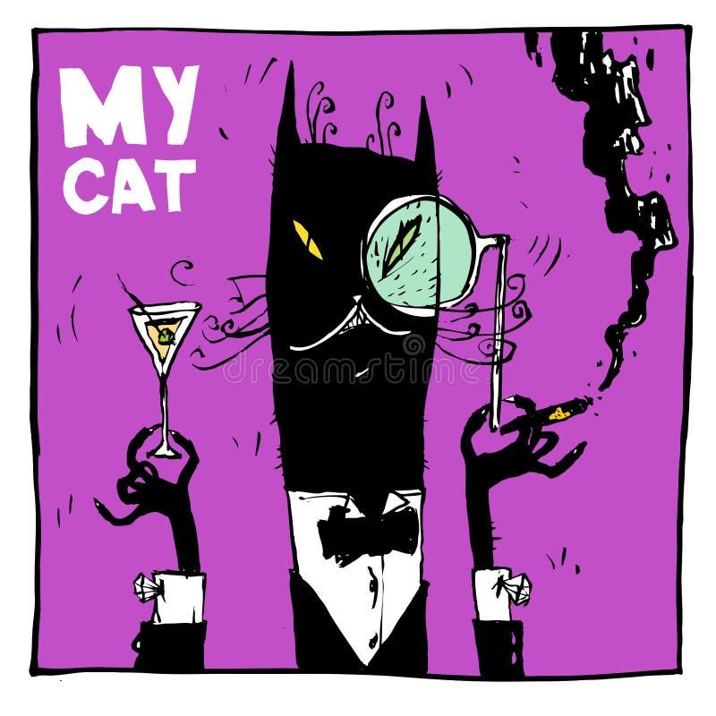 Min katt är en aristokrat, med en cigarr och en coctail Perfekt passande för inbjudningar, affischer, vykort och en T-tröja vektor illustrationer