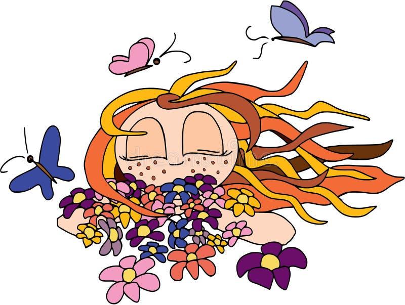 Min lyckliga sommar Flicka med fjärilar och blommor, lägenhetdesign som isoleras arkivbild