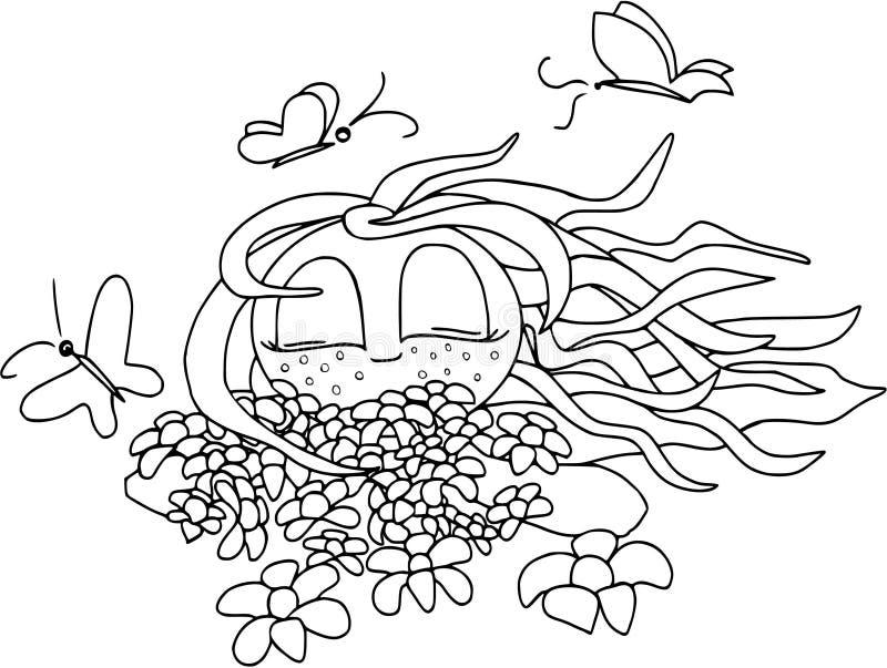 Min lyckliga sommar Flicka med fjärilar och blommor, lägenhetdesign som isoleras royaltyfri bild