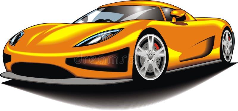 Min original- sportbil (min design) i gul färg vektor illustrationer