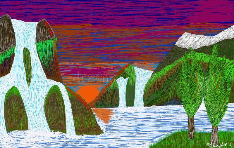 Min teckning av vattenfall i floden arkivfoto