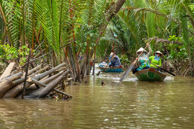 MIN THO, VIETNAM - NOVEMBER 24, 2018: Traditionellt fartyg Mekong River i min Tho stad Mekong deltaregion av sydliga Vietnam fotografering för bildbyråer