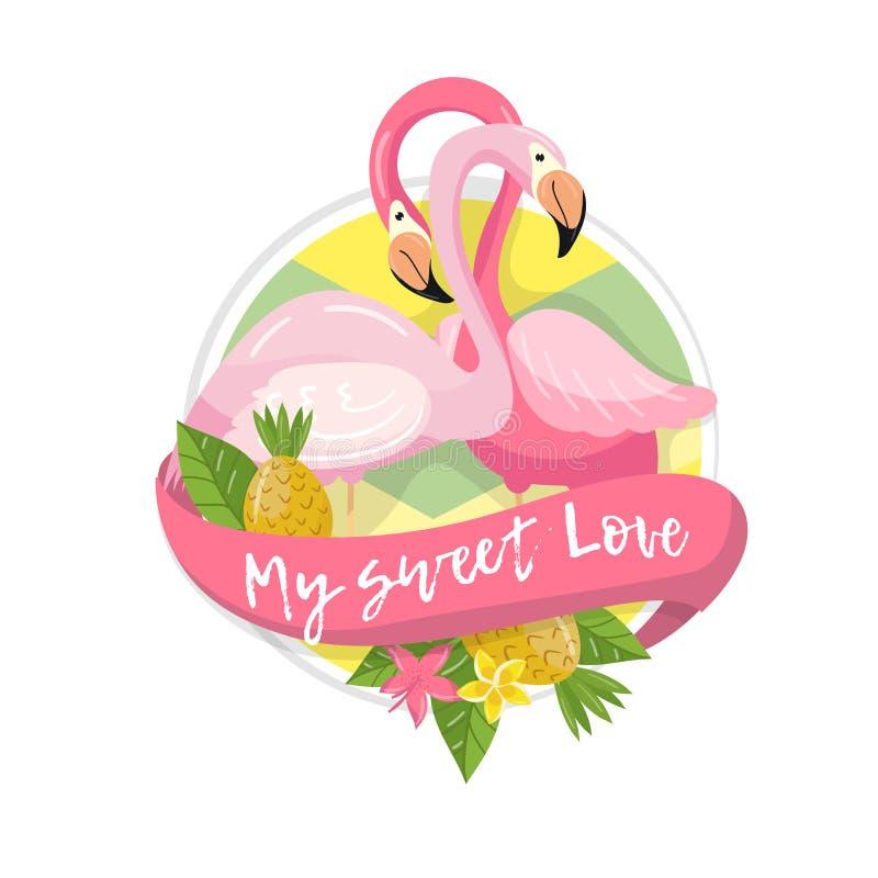 Min tropiska sommaretikett för söt förälskelse, designbeståndsdel med palmblad, blommor, ananors och par av flamingovektorn stock illustrationer