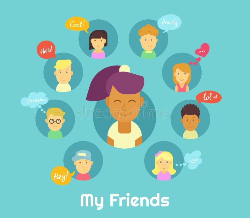 Min vänner stock illustrationer
