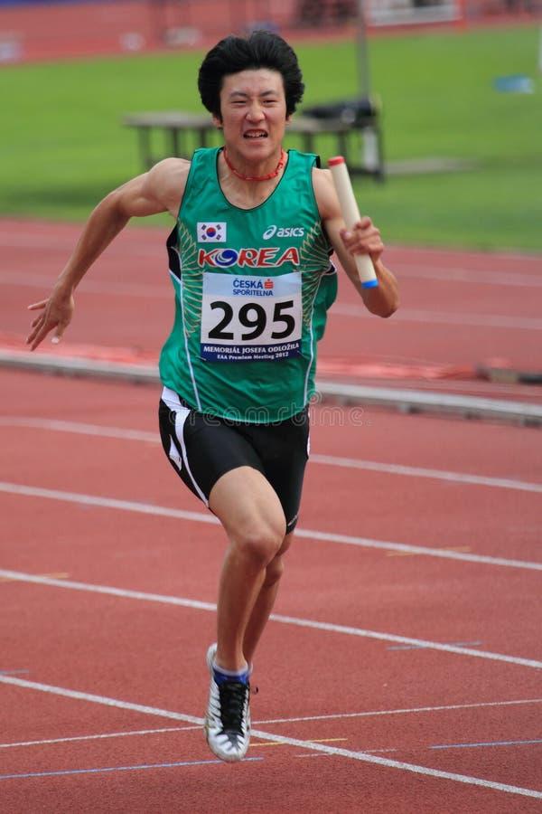 Min Woo Yoo - Korean sprinter in Prague 2012 stock photography