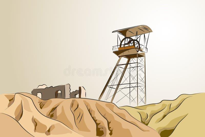 Mina abandonada - ilustración del vector libre illustration