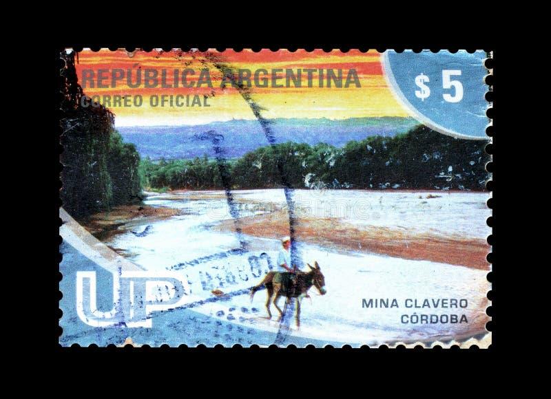 Mina Clavero Cordoba em selos postais imagens de stock