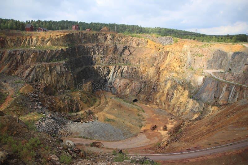 Mina de cobre vieja en Falun en Suecia foto de archivo