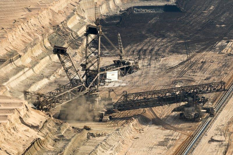 Mina de poço aberto da máquina escavadora da mineração da roda fotos de stock royalty free