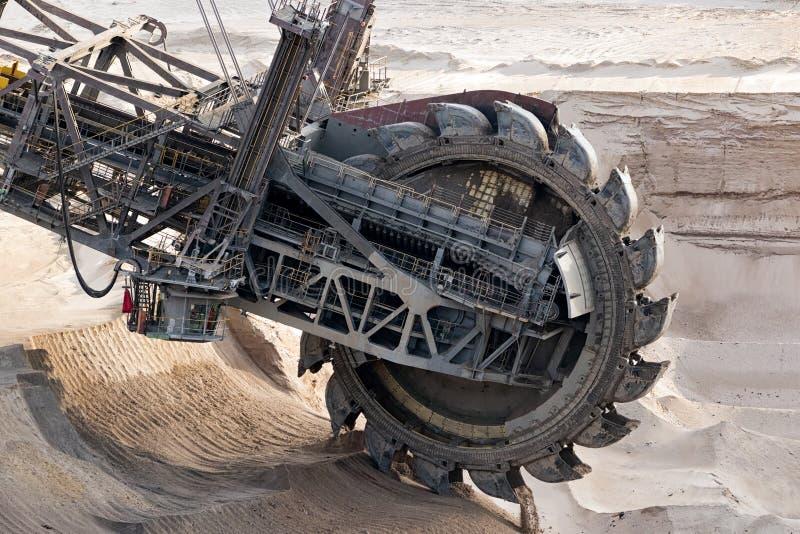 Mina de poço aberto da máquina escavadora da mineração da roda fotografia de stock royalty free