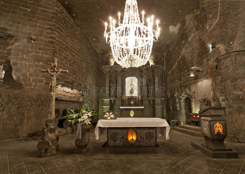 Mina de sal de Wieliczka (século XIII) foto de stock