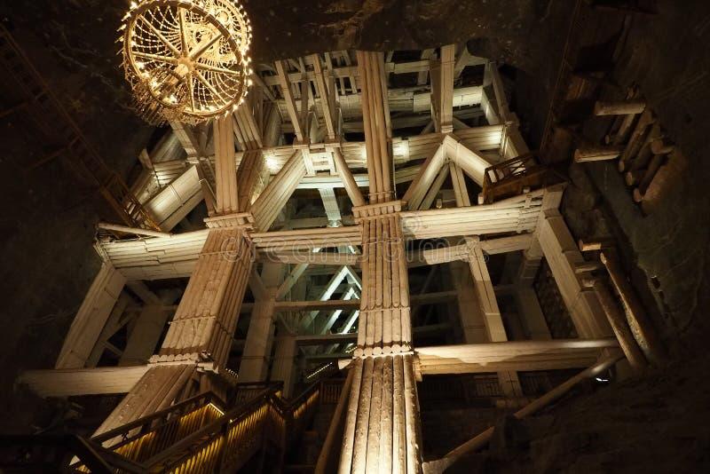 Mina de sal de Wieliczka - soli w Wieliczce do kopalnia imagens de stock