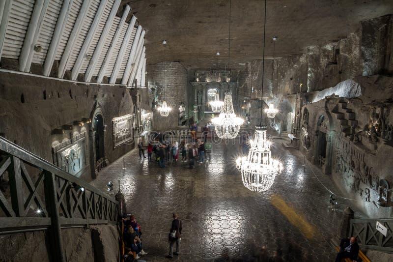 Mina de sal de Wieliczka, ³ w de KrakÃ, Polônia fotografia de stock royalty free