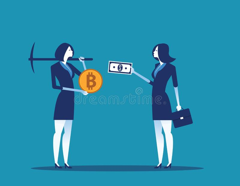 Mina del cryptocurrency del bitcoin del intercambio del hombre de negocios Ejemplo digital del vector de la moneda del negocio de libre illustration