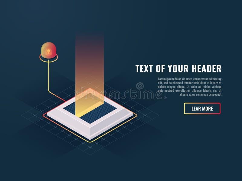 Mina del misil con el indicador anormal, concepto de nuevo producto digital de la presentación o complejo del programa stock de ilustración