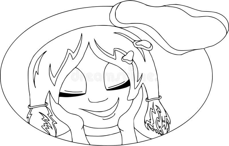 Mina lyckliga tankar Flicka som ler, plan design, isolerat som färgar arkivfoton