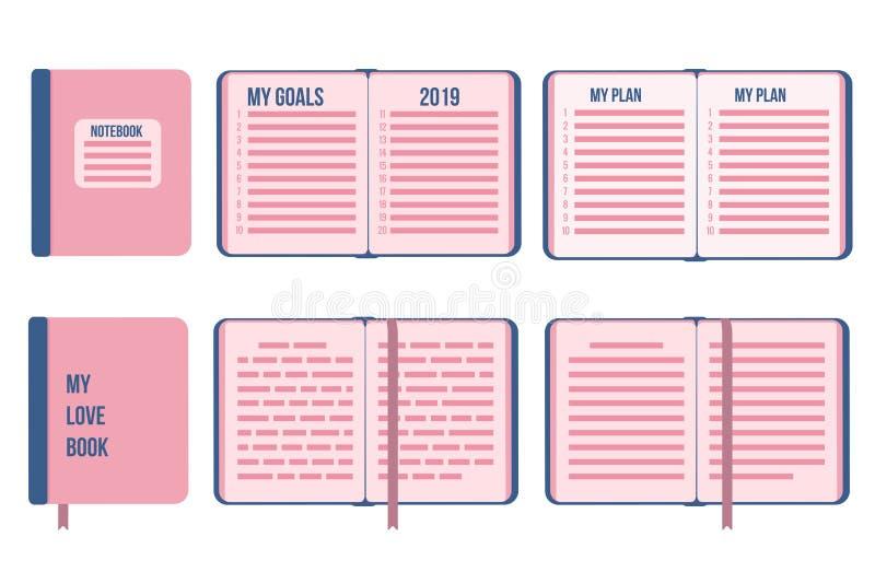 Mina mål planerar det nya året 2019 Plan anteckningsbokräkning som är stängd och som är öppen med listavektorisolater på vit bakg stock illustrationer