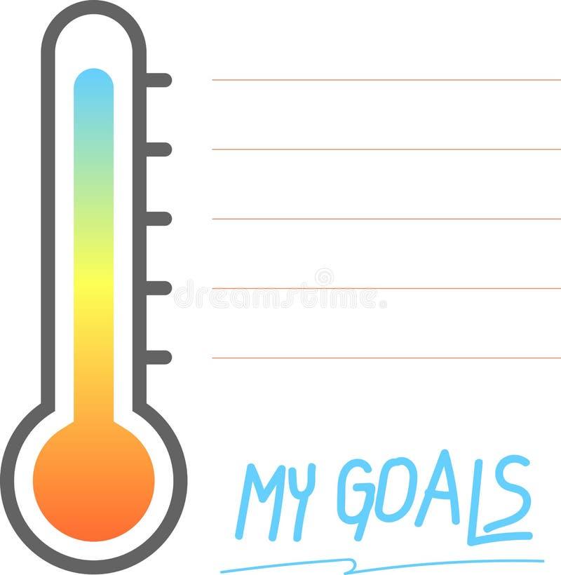 Mina mål som är tryckbara med termometertecknet, vektorillustration vektor illustrationer