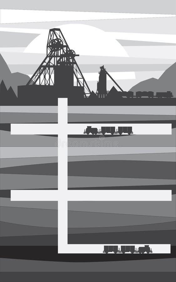 Mina para a extração do minério, ilustração ilustração royalty free