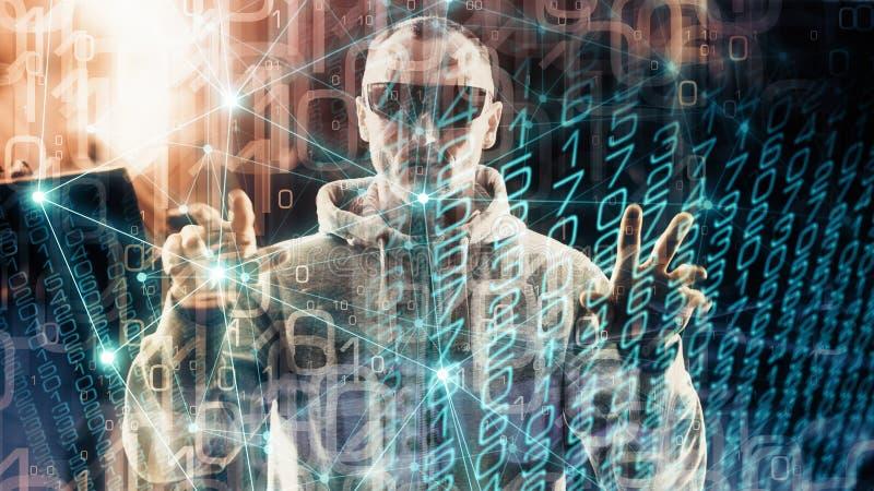 Minacce di sicurezza nell'algoritmo di sicurezza informatica, lo spionaggio virtuale mondiale fotografia stock libera da diritti