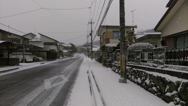 Minakuchi gator i snö, Shiga, Japan royaltyfri fotografi