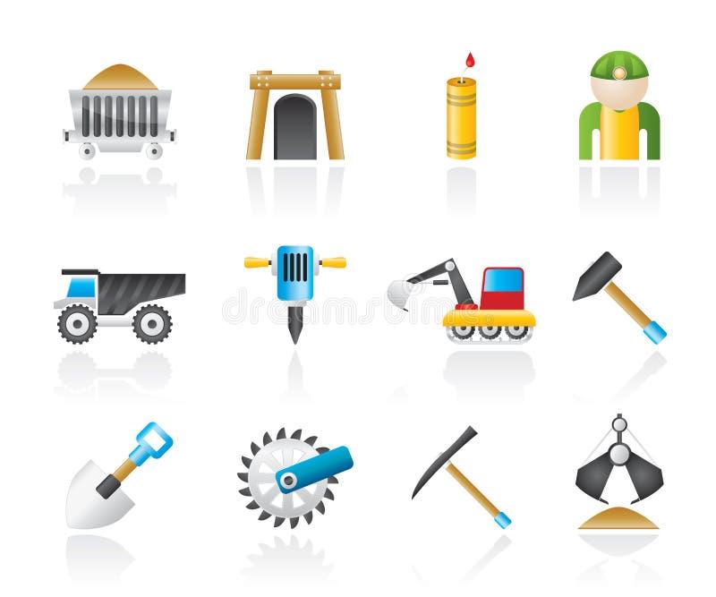 Minando e iconos de la industria de extracción objetos y ilustración del vector