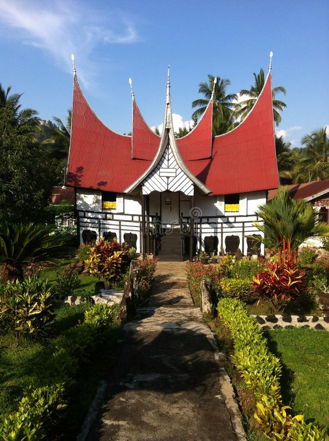 Minang Traditional House. This is a traditional house located on Batusangkar, West Sumatera royalty free stock photography