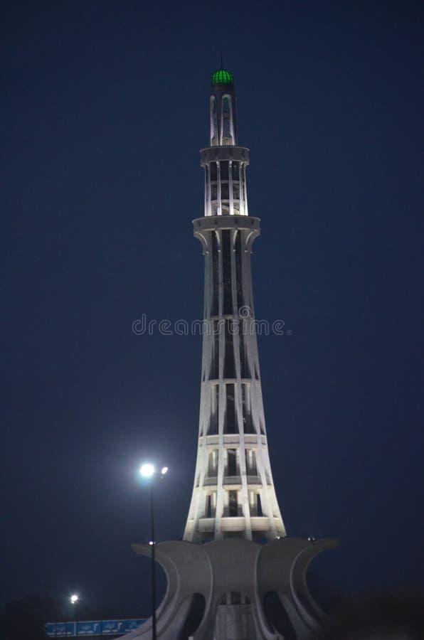 Minar巴基斯坦夜视图拉合尔 库存照片