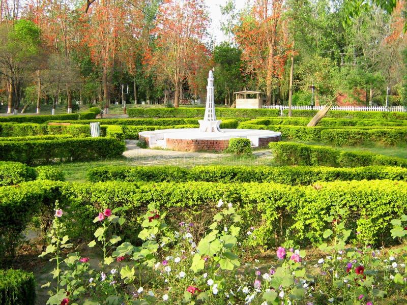 Minar e Pakistan dans le Changa Manga Forest Park image libre de droits