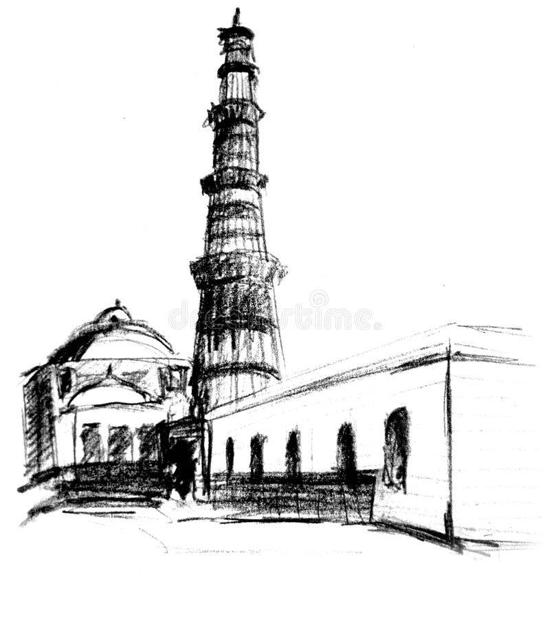 minar qutab royaltyfri illustrationer