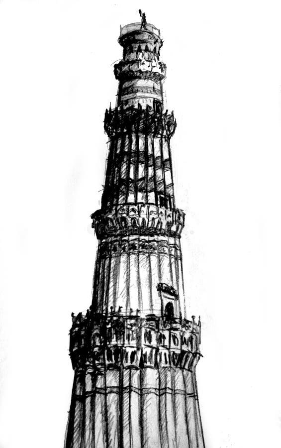 minar qutab royaltyfri illustrationer